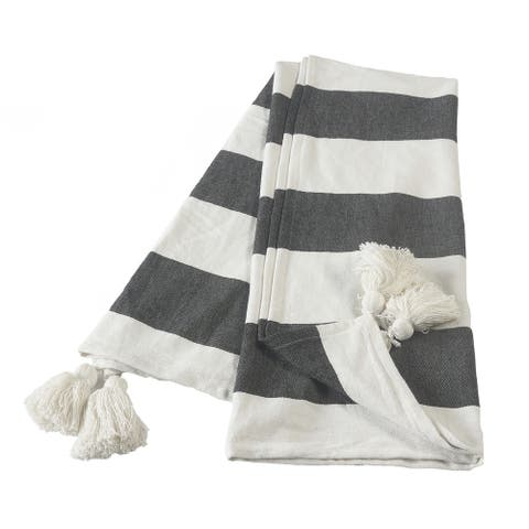 Charcoal and Ivory Bold Stripe Tasseled Throw Blanket