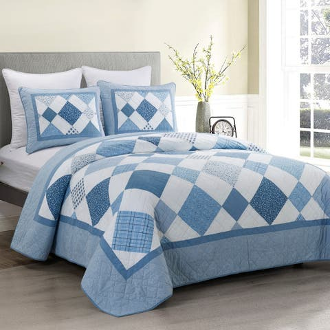 Donna Sharp Azure Diamond Cotton Quilt Set