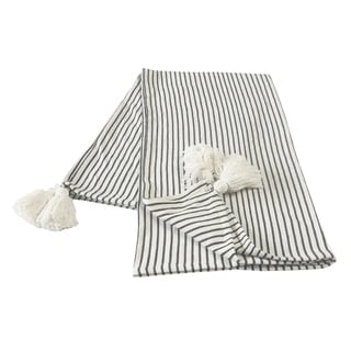 Black and Ivory Striped Tasseled Throw Blanket