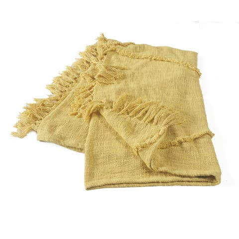 Yellow Tufted and Fringed Throw Blanket