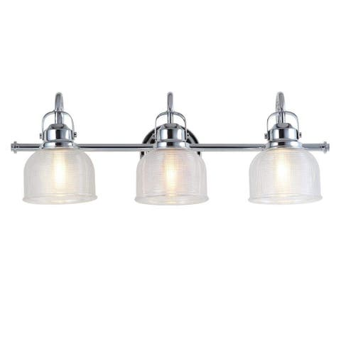 Chrome and Glass 3-Light Bathroom Vanity Light Textured Glass Shades