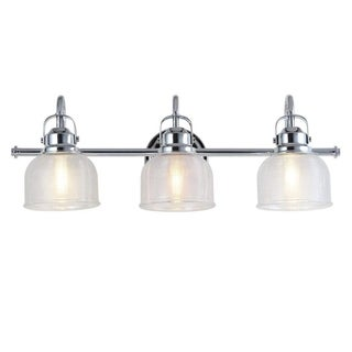 Link to Chrome and Glass 3-Light Bathroom Vanity Light Textured Glass Shades Similar Items in Bathroom Vanity Lights