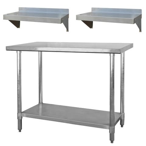 """Stainless Steel Station with 48"""" Workbench Table and 2 - 24"""" Shelves"""