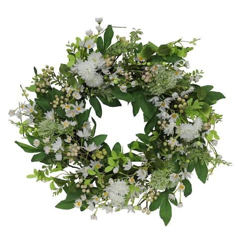 "Puleo International 24"" Artificial Daisy Spring Mixed Flower Wreath"