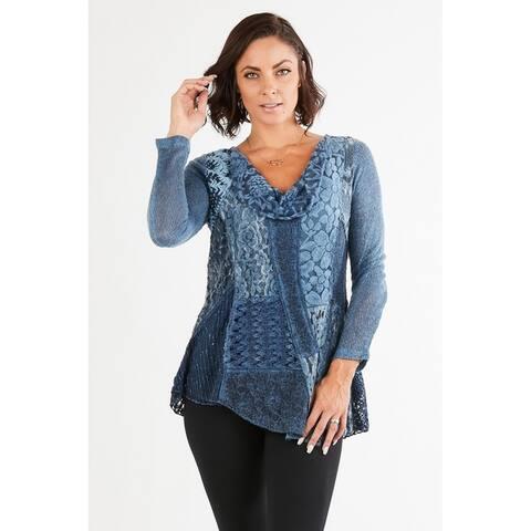 Women's Blue Patchwork Cowl Neck Tunic Top