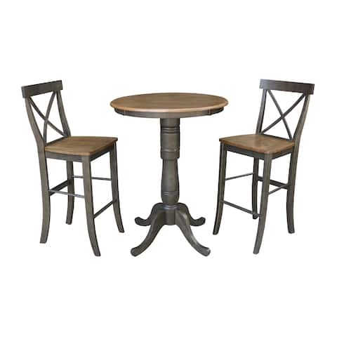 "30"" Round Bar Height Table With 2 X-Back Stools - 3 Piece Set"