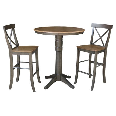 "36"" Round Bar Height Table with 2 X-Back Stools - 3 Piece Set"
