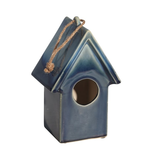 "Ceramic 9.5"" Deco Bird House,Blue. Opens flyout."