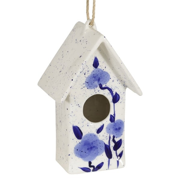 "Ceramic 10"" Floral Birdhouse, Blue. Opens flyout."