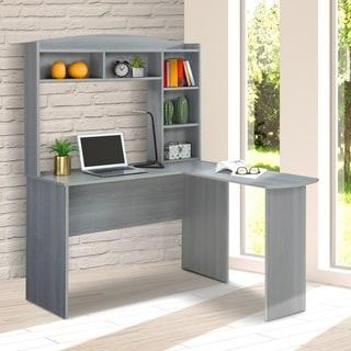 Modern Designs L-Shaped Desk with Hutch - Grey