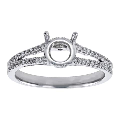 14K White Gold 1/4 carat TDW Split Shank Cathedral Solitarie Semi Mount Engagement Ring by Beverly Hills Charm Prime Jewels
