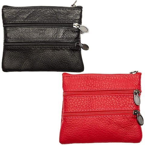 2x Women's Genuine Leather Coin Purse Pouch Change Wallet with Zipper Key Ring
