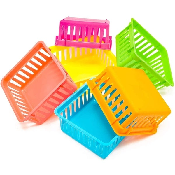 12 Pack 6 Colors Plastic Pen & Pencil Storage Baskets Trays for Classroom Organizer Drawers Shelves Closet And Desk. Opens flyout.