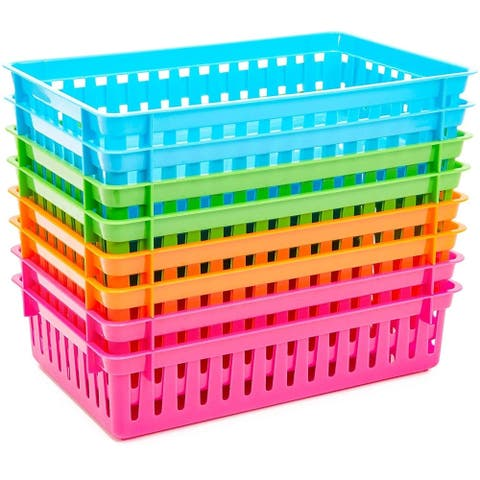 8 Pack 4 Colors Plastic Pen & Pencil Storage Baskets Trays for Classroom Organizer Drawers Shelves Closet And Desk