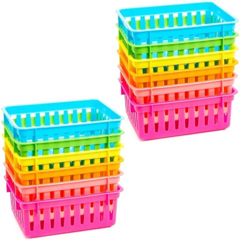 12 Pack 6 Colors Plastic Pen & Pencil Storage Baskets Trays for Classroom Organizer Drawers Shelves Closet And Desk