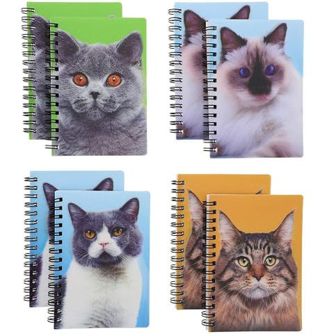 8-Pack Cat Softcover Notebooks Note Book Cats Animals with 3D Effect, 3.7 x 5.3 Inches