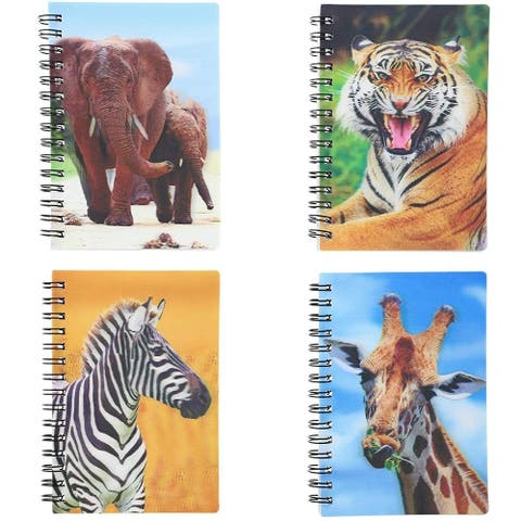 8-Pack Jungle Animal Softcover Notebooks Note Book Elephant Tiger Giraffe Zebra with 3D Effect, 3.7 x 5.3 Inches