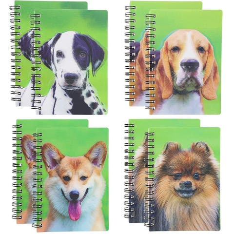 8-Pack 3D Notebook Spiral Notepads Note Pads College Ruled with Puppy Puppies, Dog Design, 4 x 5 Inches