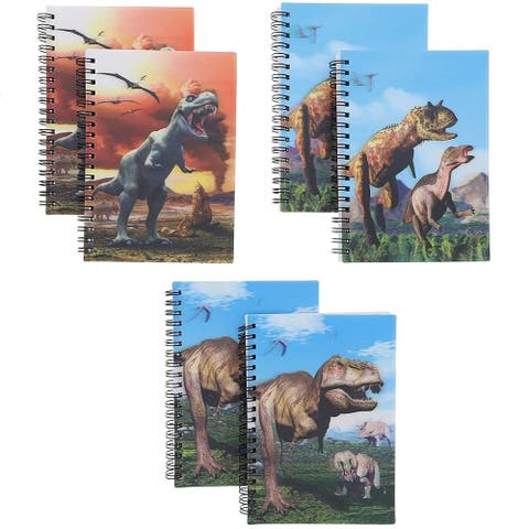 6-Pack Dinosaur Soft Cover Notebooks Journals Notepads Note Book Pad with 3D Effect, 4.7 x 6.7 Inches