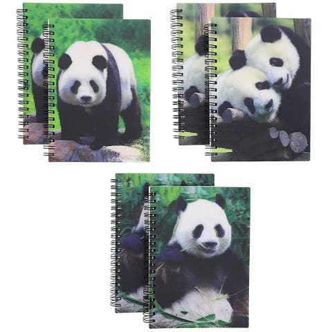 6-Pack 3D Panda Print Notebooks Notepads Note Book Pad Schools College 4.7 x 6.7 Inches