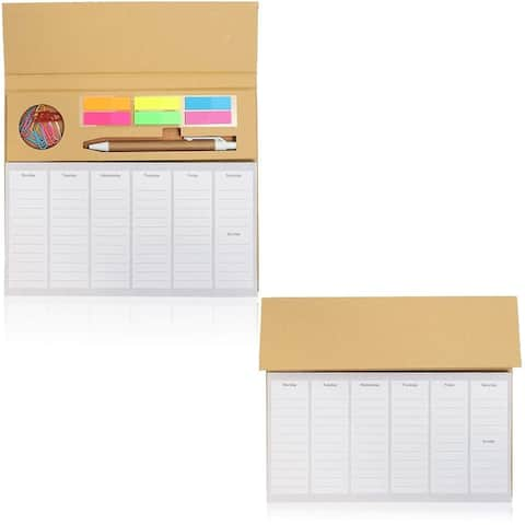 2 Pack Desktop Weekly Planner Pad Calendar with To-Do List and Sticky Notes