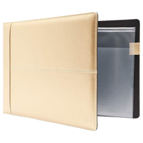 7 Ring Business Checkbook Check Book Binder Portfolio Cover Champagne Gold, PU Leather