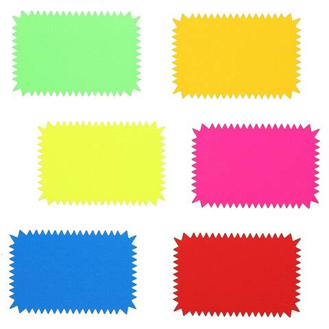 96-Pack Starburst Cutouts Display Sale Signs for Retails, Assorted Bright 6 Colors, 4 x 6 Inches