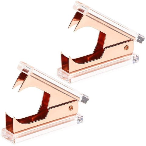 2-Pack Rose Gold Acrylic Staple Removers Staple Puller Tool for Office School Home