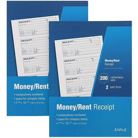 2-PackPetty Cash Sales Receipt Book 2-Part Carbonless for Rent Payment Cash Transactions