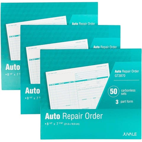 3-Pack Auto Repair Order Invoices Forms, Carbonless 3-Part 50 Sets per Book for Work