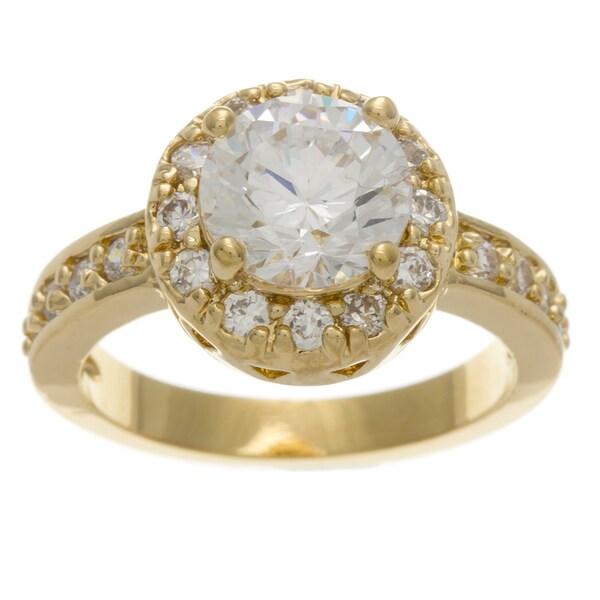 Simon Frank 2.51 Equivalent Diamond Weight 14k Yellow Gold Overlay Halo Set CZ Ring