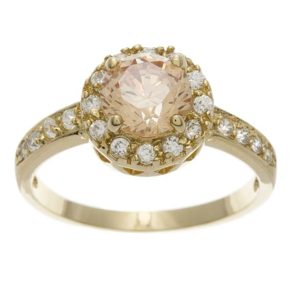 Simon Frank 2.51 Equivalent Diamond Weight 14k Yellow Gold Overlay Halo-set Engagement Ring