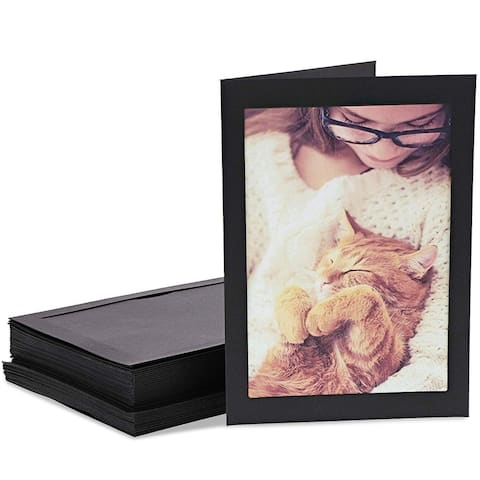 24x Cardboard Photo Insert Cards Frames with Envelopes 5 x 7 inches, Black