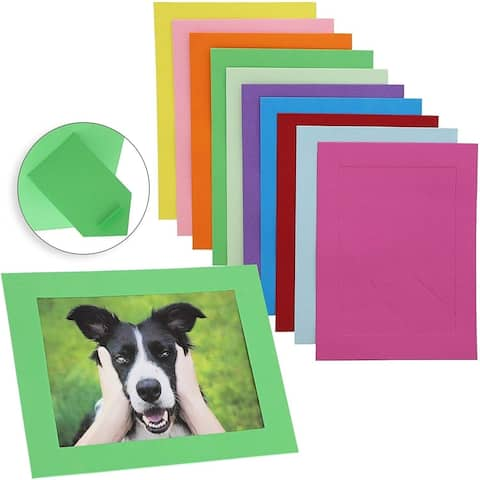 30x Cardboard Photo Picture Frame Easel for Decor, Gifts (5 x 7 inch, 10 Colors)