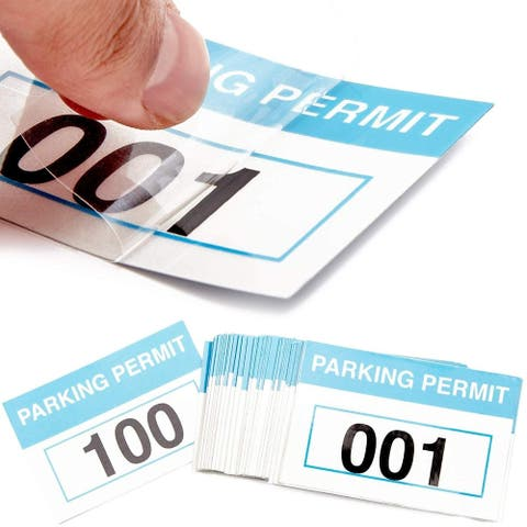 100 Pack Front Adhesive 1-100 Numbered Parking Permit Stickers for Car Window, Parking Decals, Reflective Blue