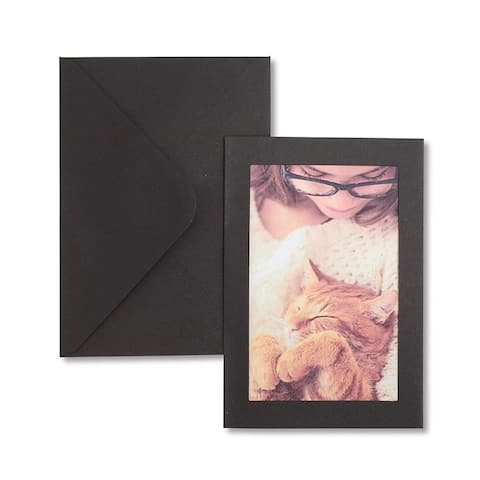 24x Cardboard Photo Insert Cards Frames with Envelopes 5 x 6 inches, Black