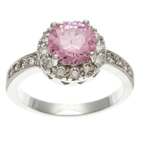 Simon Frank Silver Overlay 2.51 Equivalent Diamond Weight Pink Halo Set Ring