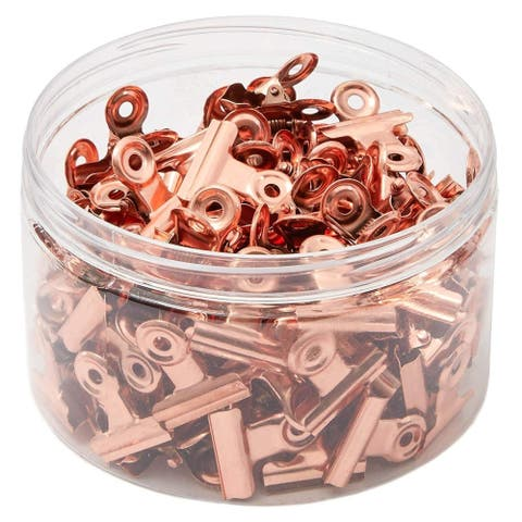 100 Pack 0.87 in Rose Gold Metal Photo Clips Bulldog Picture Clips for Paper Document Office School Supplies