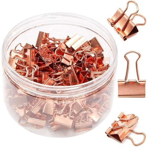 100 Pack 0.6 in Rose Gold Binder Clips Paper Clips Clamps File Clips for Office School Supplies