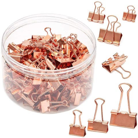 150 Pack 3 Sizes Rose Gold Binder Clips Paper Clips Clamps File Clips Assorted Size for Office School Supplies