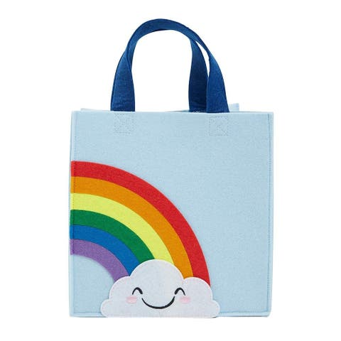 Reusable Rainbow Felt Tote Bag with Gusset and Handle for Kids, 10 x 10 x 5.8 inches