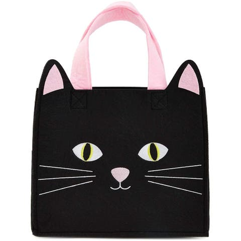 Reusable Black Cat Felt Tote Bag with Gusset and Handle for Kids, 10 x 10 x 5.8 inches