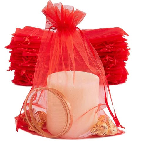 "100 Pack Red Organza Bags 6.7"" x 9"" for Wedding Party Favors Jewelry Gift Pouches"