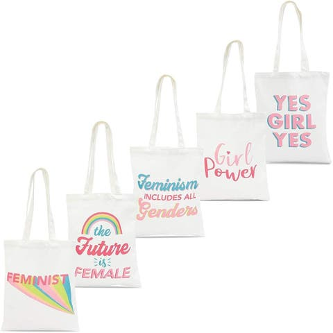 5 Pack Reusable Feminist 100% Cotton Canvas Grocery Shopping Bags with Handle for Girls, 14.2 x 12.1 inches, 5 Designs