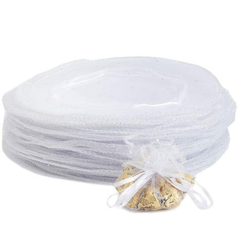 "100 Pack White Sheer Organza Bag 10"" for Wedding Party Favors Jewelry Wrap Gift Pouches"