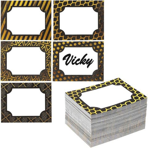 250pcs Gold Foil Border Name Tag Labels Stickers Stick-on Badge for Event Party