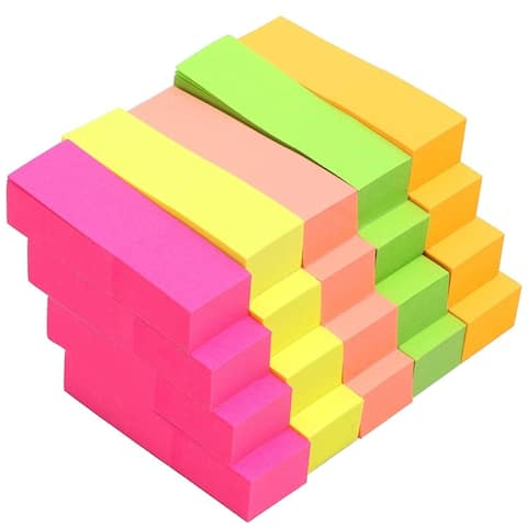 """20 Pack Neon Assorted Colors Small Sticky Note 2"""" x 0.6"""" for School Office Home Reminder Memos"""