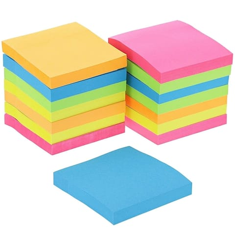 """15Pcs Neon Assorted Colors Sticky Note 3"""" x 3"""" 100 Sheet for School Office Home Reminder Memos"""