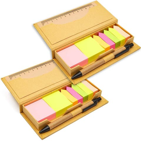 2 Pack Bright Colored Sticky Note Set with Pen and Ruler for School Office Home Reminder Memos