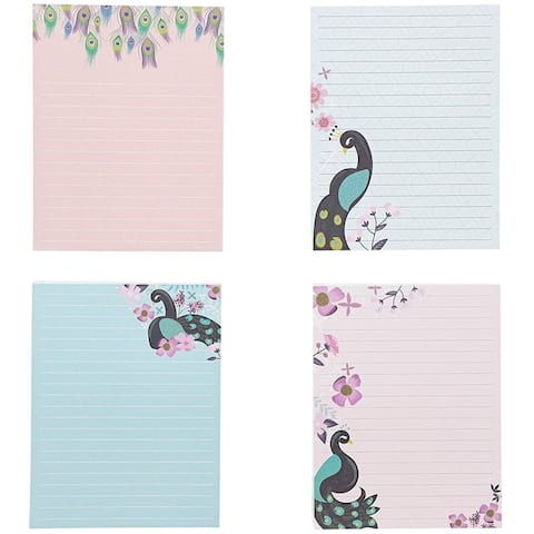 """4Pack Peacock Designs Notepads Notebooks Memo Pad Lined Paper Pocket, 4.25x5.5"""""""